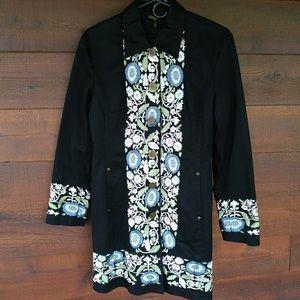 Christine Phillipe Black Embroidered Duster Jacket